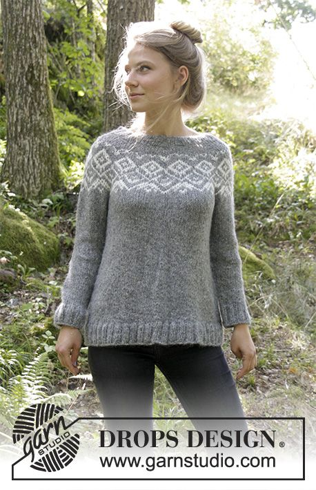 Ashbury Park / DROPS 183-20 - Knitted jumper with round yoke and multi-coloured Norwegian pattern, worked top down. Size: S - XXXL  Piece is knitted in DROPS Air.
