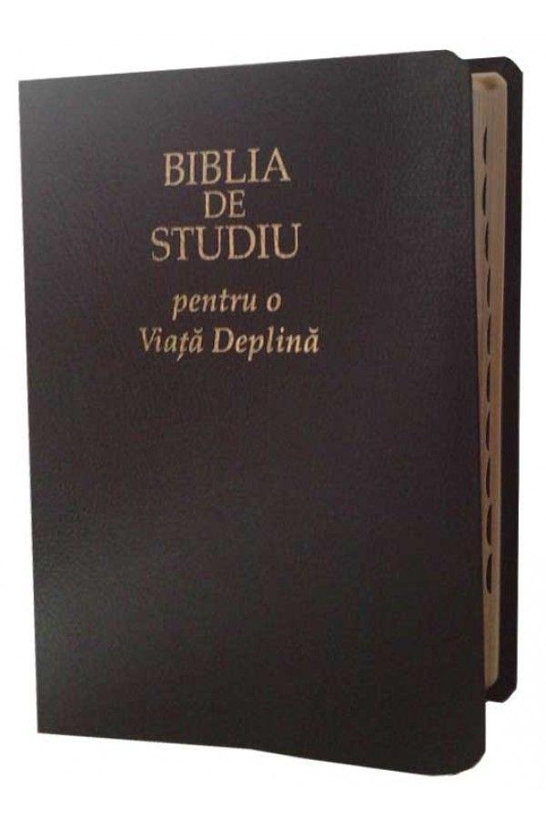 Biblia de studiu pentru o viata deplina, cu concordanta si explicatii, din piele bleumarin