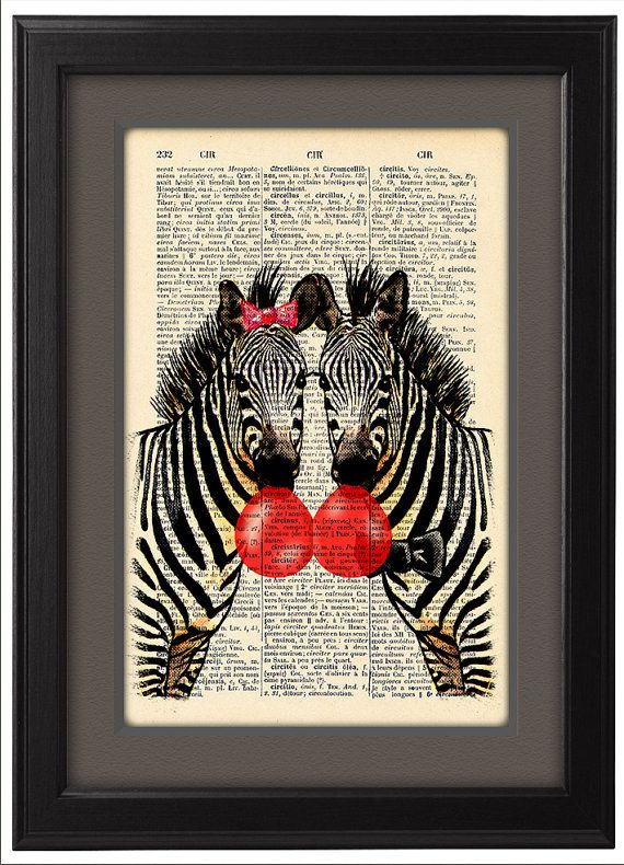Happy Zebras and Bubblegum pop, Dictionary Print  poster, Funny engagement anniversary gift poster, Dorm College Home Wall decor, CODE/167
