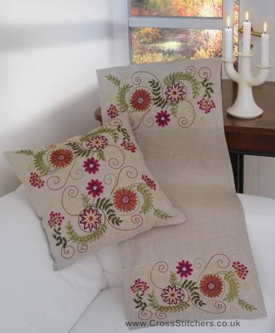 Floral - Autumn Fantasy Table Runner Embroidery Kit - Idéna Collection by Anchor