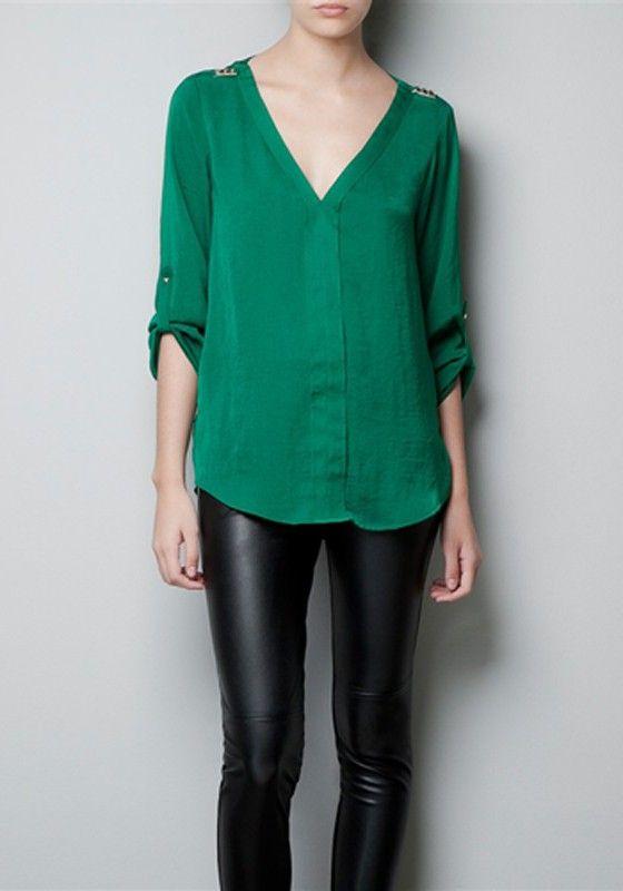 Green Rivet V-neck Long Sleeve Chiffon Blouse