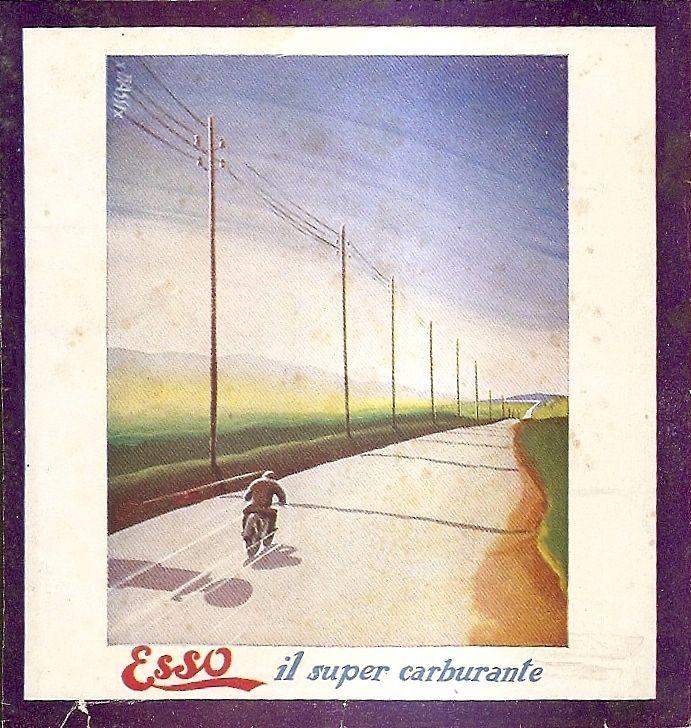 Pubblicità ESSO CARBURANTE Motocicletta Bassi 1933 Avertising Reklame Werbung