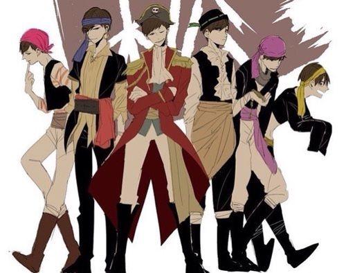Osomatsu-san- Osomatsu, Karamatsu, Choromatsu, Ichimatsu, Jyushimatsu, and Todomatsu #Anime「♡」pirates