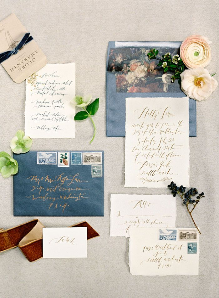 Slate Blue and Gold Wedding Invitations | O'Malley Photographers | http://heyweddinglady.com/pacific-northwest-fall-wedding-inspiration/
