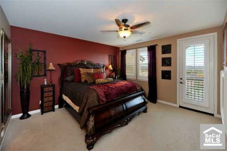 Red Accent Wall Bedroom | Red Wall Master Bedroom - Bedroom Designs - Decorating Ideas - HGTV ...