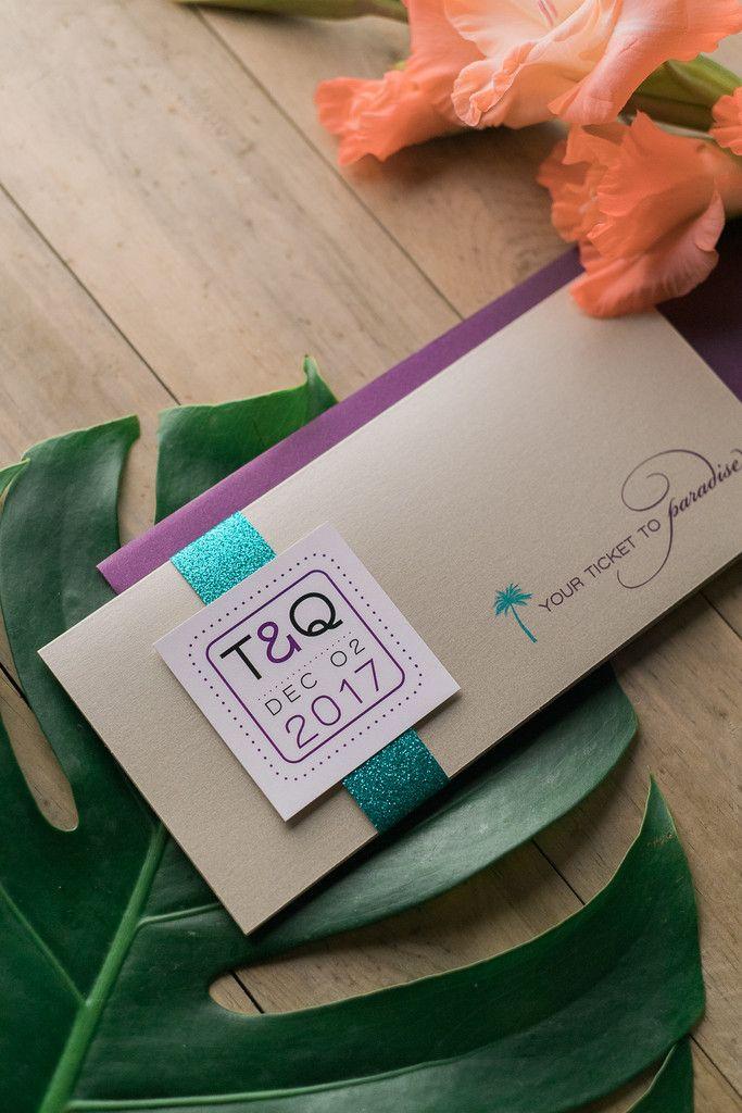TRAVEL COLLECTION Portable Pocket Styled Invitation, destination wedding invitation, airline ticket wedding invitation, glitter, turquoise, purple