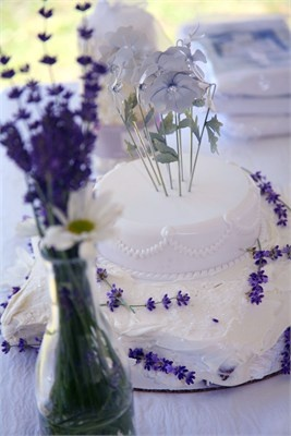 Purple and white lavender wedding cake
