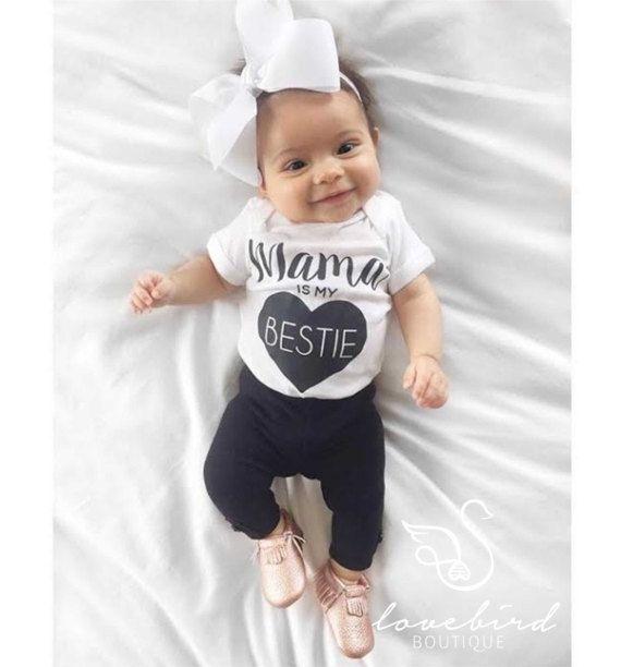 Mama is My Bestie Onesie/Tee  Baby Girl by ShopLovebirdBoutique