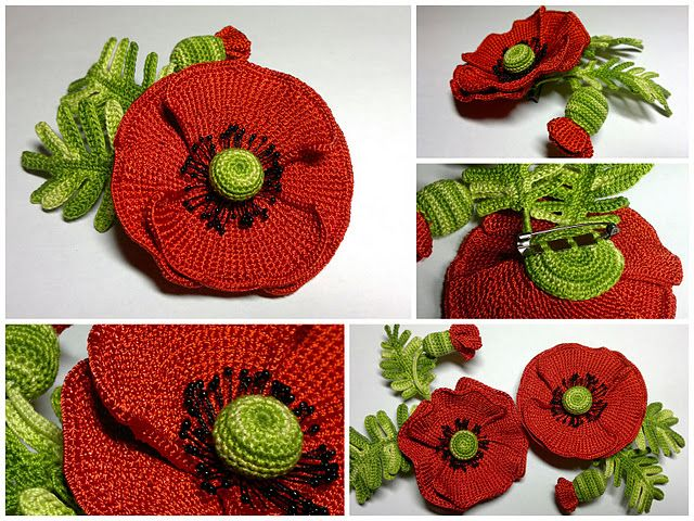 Free Crochet Pattern For Poppy Flower : crochet Poppy Wool Crafts Pinterest Crochet Poppy ...