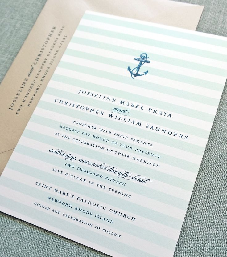 wedding renewal invitation ideas%0A Josseline Nautical Wedding Invitation Sample  Aqua Mint Ombre Stripes   Navy Anchor  Metallic Sand Envelope