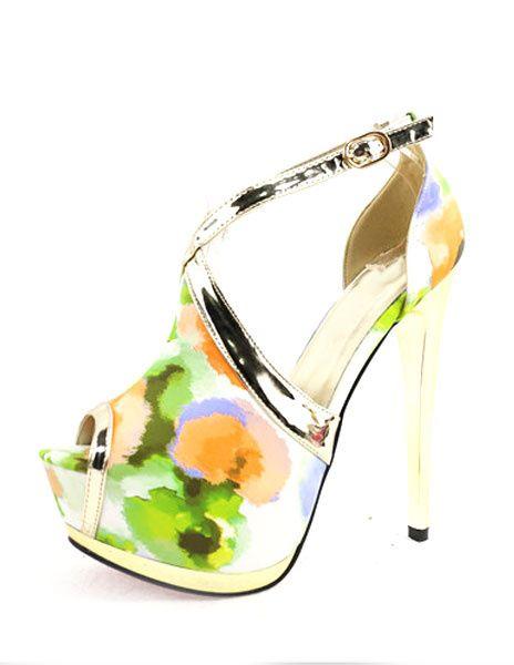 Chaussures Mariage Vintage Ankle Strap à talons hauts sandales plate-forme Peep féminines avec imprimé Floral
