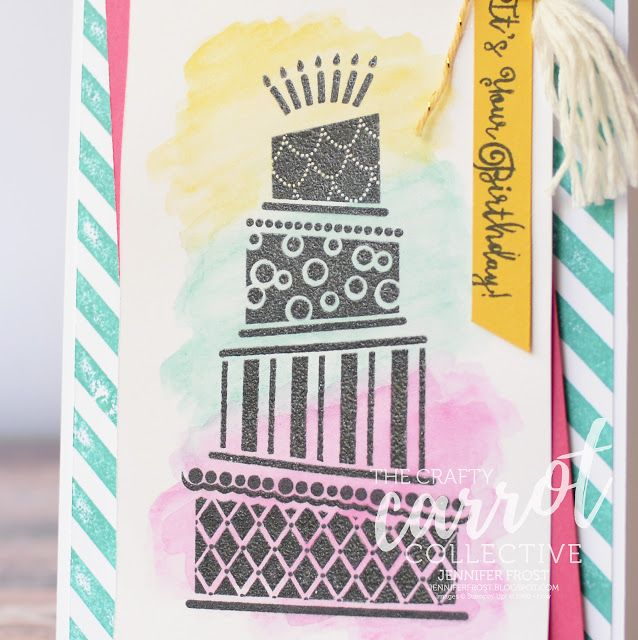 No black embossing powder - no worries!  Stamp in black ink and apply a clear embossing powder on top to achieve this embossed look. Cake Crazy, The Crafty Carrot Collective, Watercolor Pencils, Diagonal Stripe Background, Stampin' Up! Birthday Card by Jennifer Frost