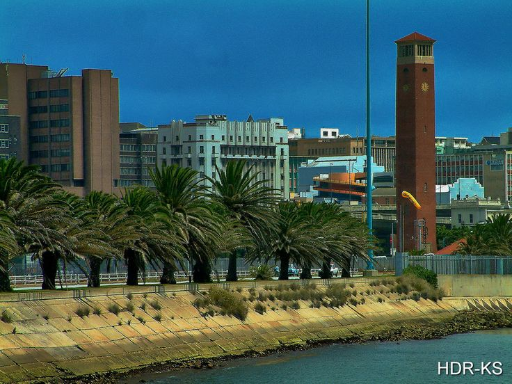 A view from the harbour of Port Elizabeth, South Africa.