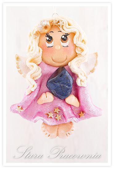 Aniołek z masy solnej z kamieniem półszlachetnym oraz męska kartka:-)