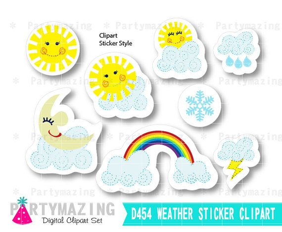 Weather Clipart Set Sunny Weather Report Clipart Set Handrawn Sticker Style Set Instant Download D454 by Partymazing
