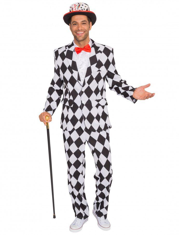 Anzug Pantomime Herren 2-tlg. für Karneval   Fasching » Deiters  pantomime   Anzug  clown  schwarz  weiß  rot  Herren  Mann…  156786b110272