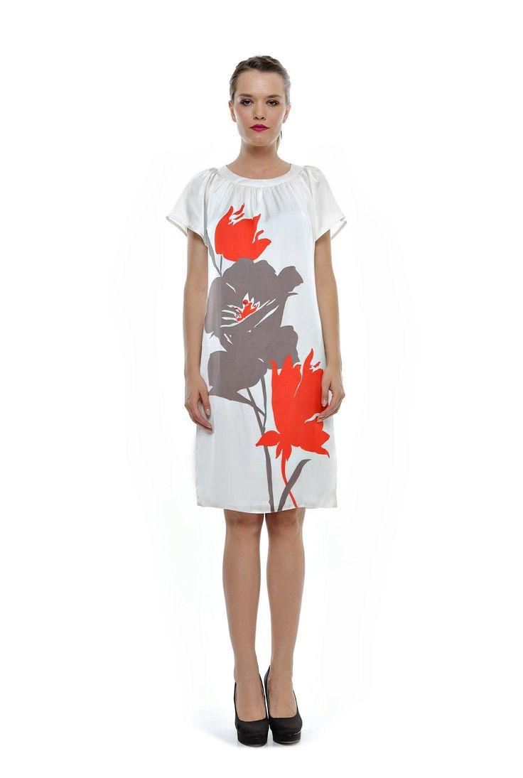 Rochie din satin alb cu imprimeu floral grej cu orange RO67 de la Ama Fashion