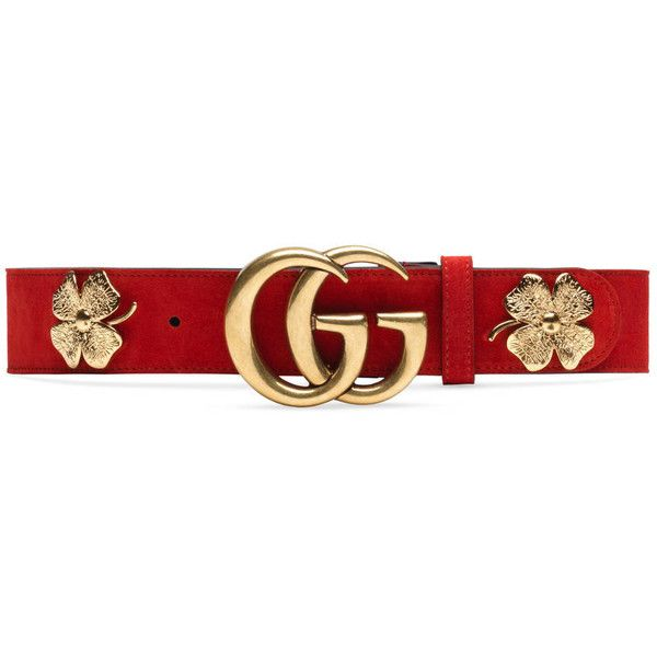 Gucci Clover Belt With Double G Buckle ($550) ❤ liked on Polyvore featuring accessories, belts, red, suede belt, gucci, red studded belt, red waist belt and studded belt