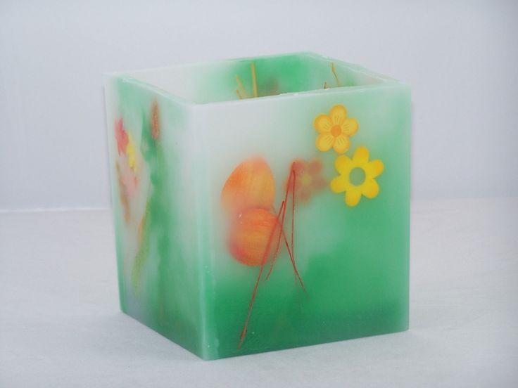 Bougies photophore avec insertion de sujets en bois