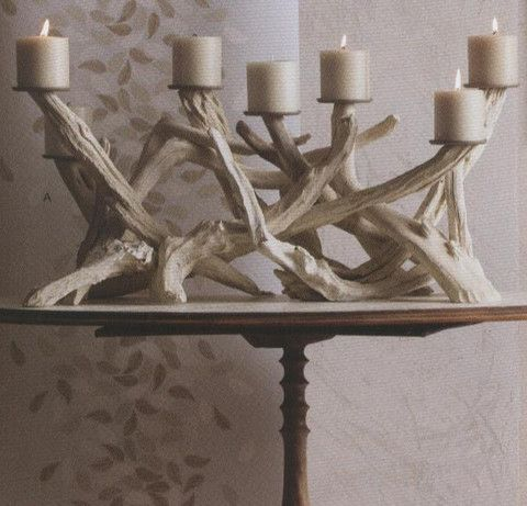 driftwood or antler candle holders