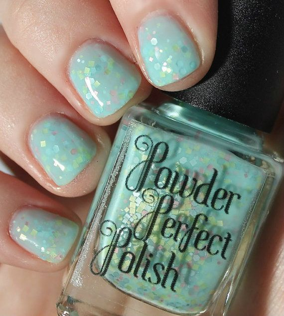 Aussie Indie Nail Polish Called Pastel Paddlepop Soft Blue Mint Green Nail Polish With Matte