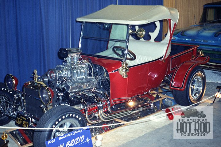 "Andy Brizio entered this Roadster Pickup as ""Andy's Instant T"" at the 1969 GNRS in Oakland. The 23 T body was glass and ran special rear fenders. The engine was a 301"" Chevy fitted with a blower and fuel injection. It was painted Le France (fire truck) red and featured white trimmed black striping.  ©AHRF/Doug Rasmussen Collection (DRC_159)"