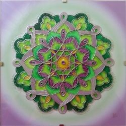 "Glass Hand Painted Mandala ""Probuzení"" (15x15cm)"