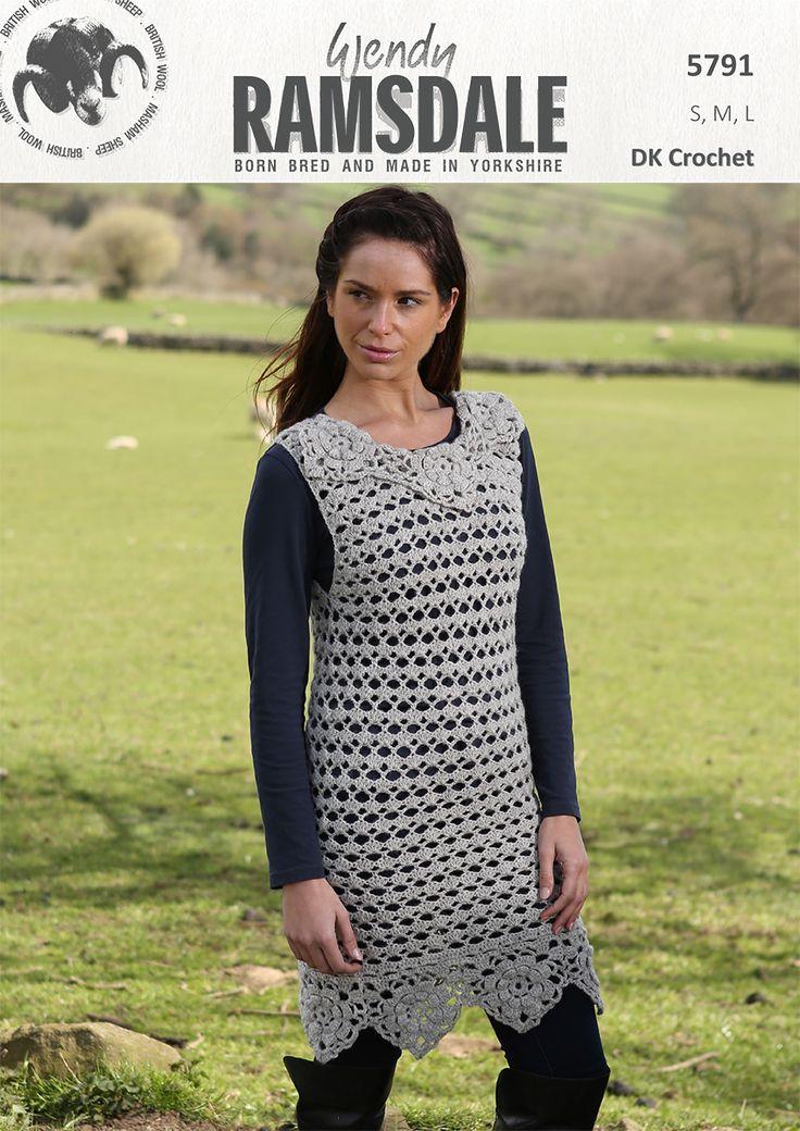5791 - Crochet tunic in Wendy Ramsdale dk http://www.tbramsden.co.uk/catalog/patterns/womens/5791_crochet
