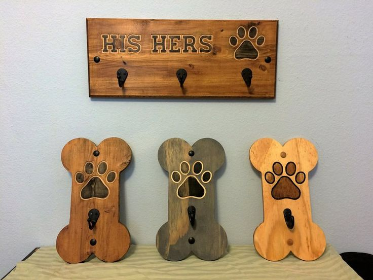 Dog Lovers Dream Leash Holders Bone Shaped With One Hook His Hers Paw Print Holder Carved into Upcycled Wood Hand Painted / Stained by RummWoodWorx on Etsy