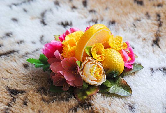 Tropical, Pink & Yellow, Lemon, Floral Pin Up, Rockabilly, Vintage Inspired, Fruit, Tiki Luau, Hair Clip, Fascinator, Fashion Accessory