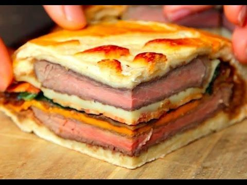 7-Layer Steak Sandwich - Ingredients - Preparation -  Oh Mama, my mouth is watering but I would add some sauteed mushrooms too! - Video