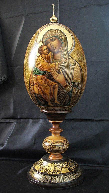 """Купить Пасхальное яйцо """"Богоматерь Феодоровская"""" - авторская работа, роспись, яйцо, богородица, Пасха, образ"""