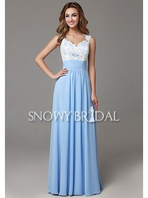 A-Line White Garden Formal Blue Ruched Open Back Bridesmaid Dress - US$ 96.99 - Style B2669 - Snowy Bridal