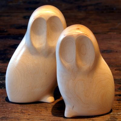 pair of owls, carved in sycamore