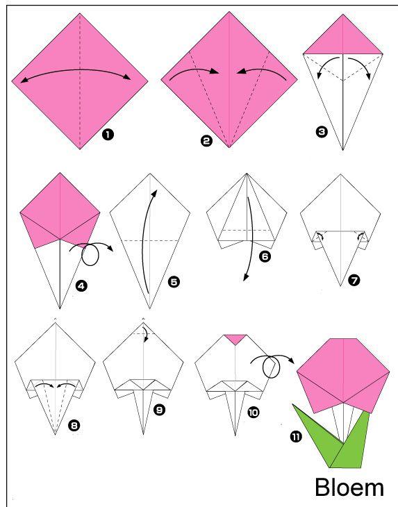 origami-Bloem vouwen
