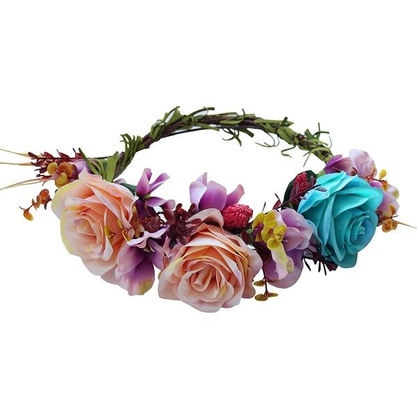 Amazon.com: Vivivalue Christmas Handmade Camellia Berries Flower Crown... ($15) ❤ liked on Polyvore featuring accessories, hair accessories, flower crowns, boho headbands, flower crown headband, crown headband and floral crowns