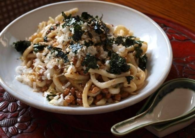Stir Fried Natto and Chopped Udon Noodles with Sesame Oil Recipe -  Very Tasty Food. Let's make it!