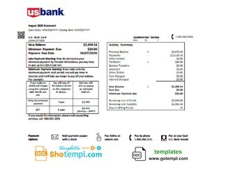 USA U.S. bank credit card statement template in Word