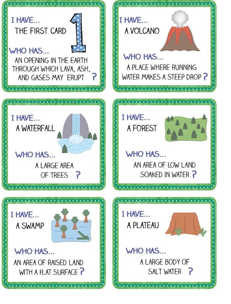 My class loves I have ... Who Has ... ? games.  Great way to practice vocabulary in a landforms/bodies of water unit