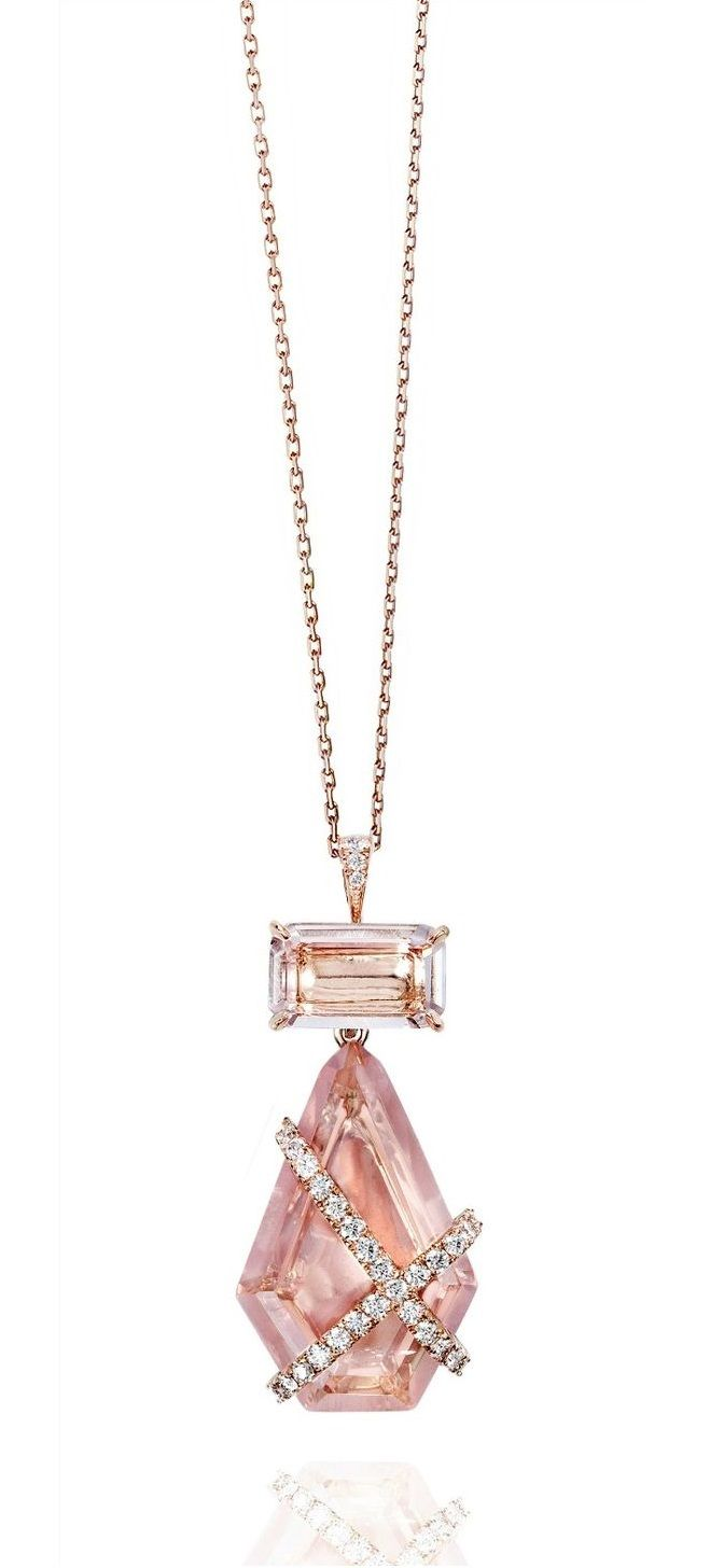 The Denise II pendant by Rachel Sarc – an 18kt rose gold pendant with rose quartz, and rock crystal quartz, and carefully positioned lines of diamond pavè.
