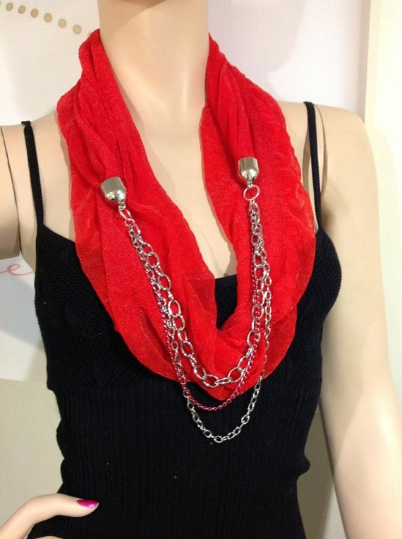 Jewelry scarf necklace by Outsidetheboxscarves on Etsy, $25.00