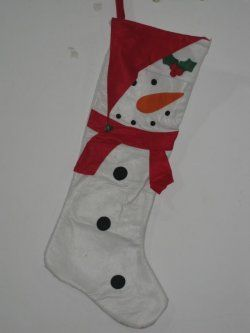 Christmas socks ( white with red bow snowman graphics )