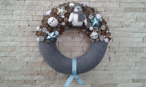 Pingvines téli ajtódísz- karácsonyi kopogtató