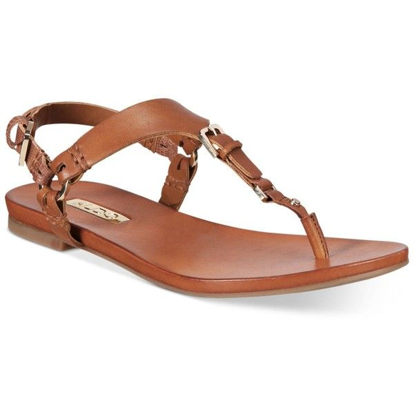 Aldo Women's Joni T-Strap Flat Sandals ($60) ❤ liked on Polyvore featuring shoes, sandals, tan, t bar shoes, aldo, t-strap flat sandals, t bar flat shoes and t strap shoes