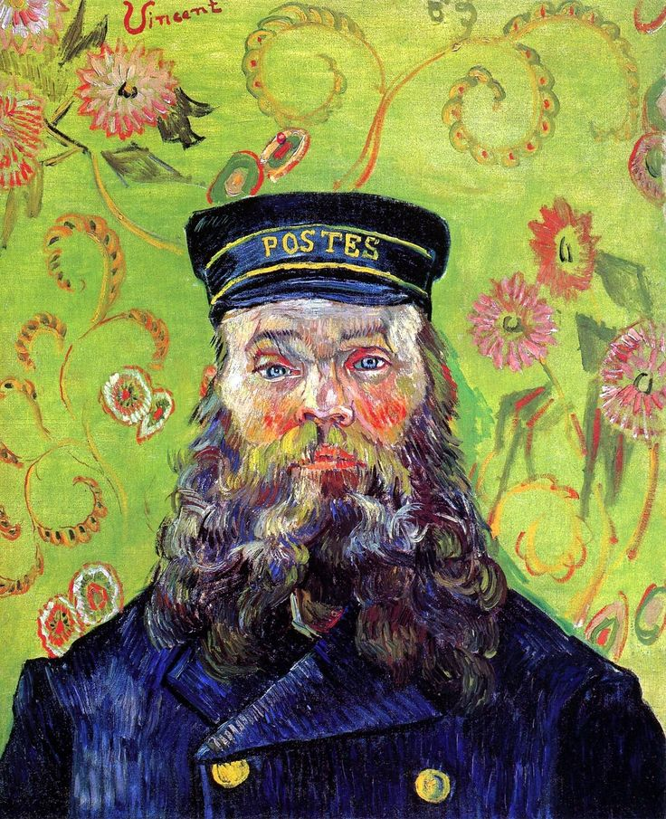 """""""Portrait of the Postman Joseph Roulin"""" -Vincent Van Gogh, 1888. Van Gogh did a series of portraits of this family. I got to see one of the postman and one of his wife (""""La Berceuse"""") and several other originals at The Seattle Art Museum in 2004! One of the most amazing days of my life!"""