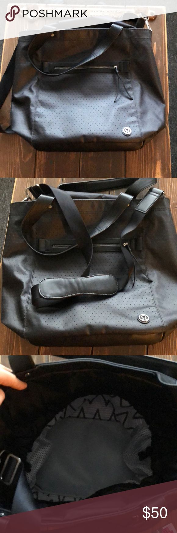 Over the shoulder Lululemon bag. This bag has a shoulder strap as well as regular arm straps. You can pull the strings to shut the bag to protect it from rain ect. Used for about a month, then purchased a different lululemon bag. lululemon athletica Bags Shoulder Bags