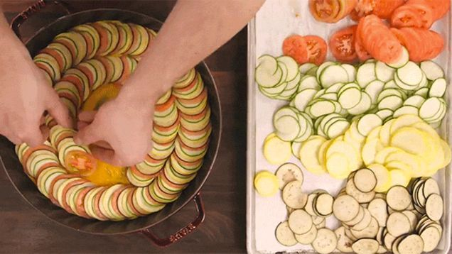 Ratatouille has never looked better than it did in the Pixar movie. A perfect accordion of vegetables of different colors winding themselves in a pot glazed with visual deliciousness. Which makes sense because one of the best chefs in the world, Thomas Keller, imagined the recipe up for the animators at Pixar to make. But here it is in a real life form from the folks at ChefSteps.