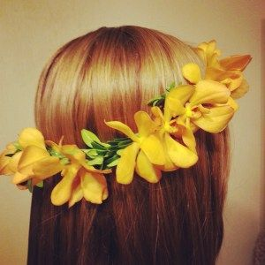 hair circlet of yellow orchids