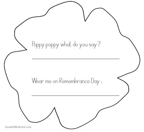 Grade ONEderful: Math and Printing Remembrance Day FREEBIES. This is a lovely poppy poem your grade 1 students can practice reading and printing.