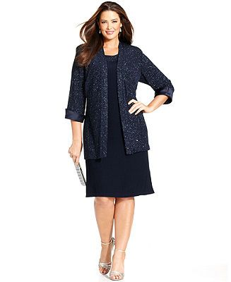 R&M Richards Plus Size Sleeveless Glitter Shift and Jacket - Mother of the Bride - Women - Macy's